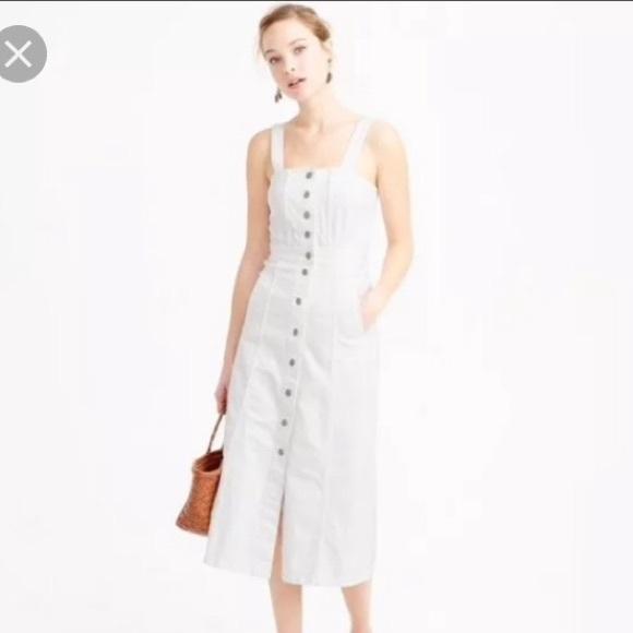 f64f81c0c9 Jcrew button front white denim midi dress